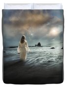Lady Wading Into The Sea In The Early Morning Duvet Cover