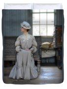 Lady Waiting In Train Depot Duvet Cover