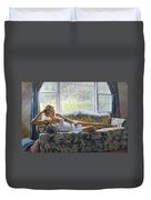Lady With A Book Duvet Cover
