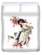 Lady With Dog Duvet Cover