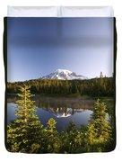 Lake And Mount Rainier, Mount Rainier Duvet Cover