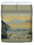 Lake Leman With The Dents Du Midi In The Distance Duvet Cover
