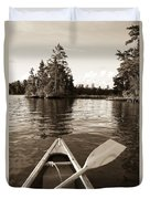 Lake Of The Woods, Ontario, Canada Boat Duvet Cover