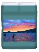 Lake Quinault Sunset - Impressionism Duvet Cover