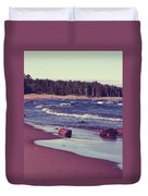 Lake Superior Beach Waves  Duvet Cover