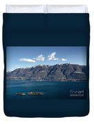 lake with Brissago islands and snow-capped mountain Duvet Cover