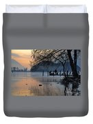 Lake With Ice In Sunset Duvet Cover