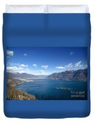 Lake With Islands And Snow-capped Mountain Duvet Cover