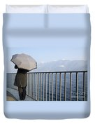 Lakefront With A Umbrella Duvet Cover
