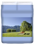 Lakefront With Mountain Duvet Cover