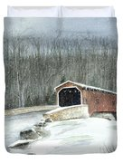 Lancaster County Covered Bridge In The Snow  Duvet Cover