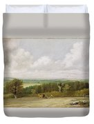Landscape - Ploughing Scene In Suffolk Duvet Cover