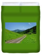 Lane View Of Crazy Mountains Duvet Cover