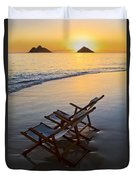 Lanikai Chairs At Sunrise Duvet Cover