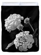 Lantana In Black And White Duvet Cover