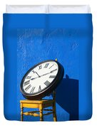 Large Clock On Yellow Chair Duvet Cover