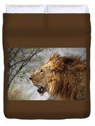 Large Male Lion Profile Portrait Duvet Cover