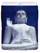 Large Seated White Buddha Duvet Cover