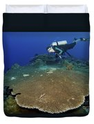 Large Staghorn Coral And Scuba Diver Duvet Cover