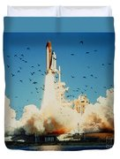 Launch Of Space Shuttle Challenger 51-l Duvet Cover