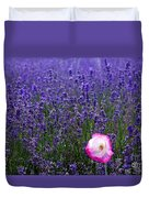 Lavender Field With Poppy Duvet Cover