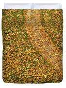 Lawn Covered With Fallen Leaves Duvet Cover