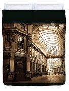 Leadenhall Market London Sepia Toned Image Duvet Cover