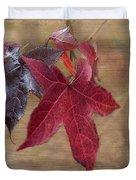 Leaf In Red Duvet Cover