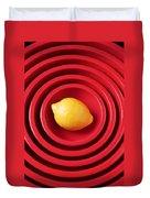 Lemon In Red Bowls Duvet Cover
