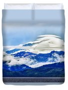 Lenticular And The Chugach Mountains Duvet Cover