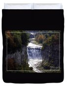 Letchworth State Park Middle Falls With Watercolor Effect Duvet Cover