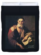 Leucippus, Ancient Greek Philosopher Duvet Cover by Science Source