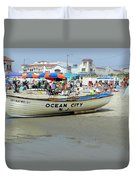 Lifeguard Boat At Ocean City Boardwalk New Jersey Duvet Cover