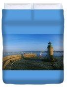 Light House At A Harbor, County Dublin Duvet Cover