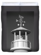 Light House On Coney Island In Black And White  Duvet Cover