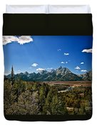 Light Rays On The Grand Tetons Duvet Cover