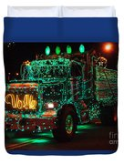 Lighted Green Dumptruck Duvet Cover