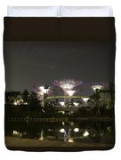 Lighted Supertrees Of The Gardens By The Bay In Singapore Duvet Cover