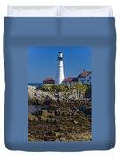 Lighthouse And Rocks Duvet Cover