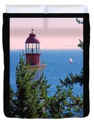 Lighthouse And Sailboats Duvet Cover
