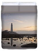 Lighthouse At Low Tide Duvet Cover