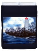 Lighthouse Blues Painterly Style Duvet Cover