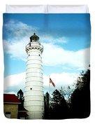 Lighthouse In Door County Duvet Cover