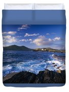 Lighthouse In The Distance, Fort Point Duvet Cover