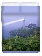 Lighthouse In The Evening Duvet Cover