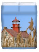 Lighthouse In Wheat Field Duvet Cover