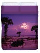 Lightning Illuminates The Purple Sky Duvet Cover