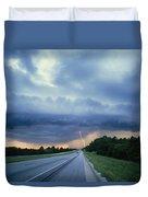 Lightning Over Highway, Bee Line Duvet Cover