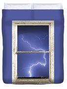 Lightning Strike White Barn Picture Window Frame Photo Art  Duvet Cover