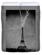 Lightning Strikes Eiffel Tower, 1902 Duvet Cover